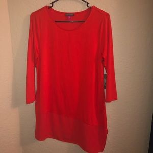Red Hot Vince Camuto Long Dress Shirt 3/4 Sleeves